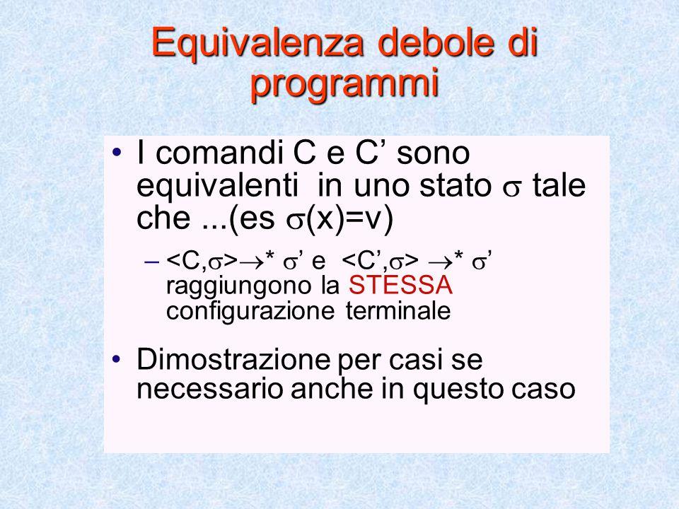 Equivalenza di programmi I comandi C e C' sono equivalenti se  vale – – e NON portano ad una configurazione terminale – –  *  ' e  *  ' raggiungono la STESSA configurazione terminale Dimostrazione per casi se necessario