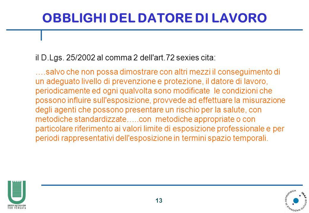 13 OBBLIGHI DEL DATORE DI LAVORO il D.Lgs.