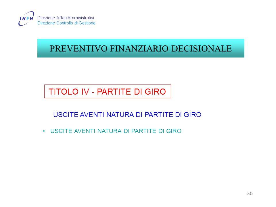 Direzione Affari Amministrativi Direzione Controllo di Gestione 20 TITOLO IV - PARTITE DI GIRO PREVENTIVO FINANZIARIO DECISIONALE USCITE AVENTI NATURA DI PARTITE DI GIRO