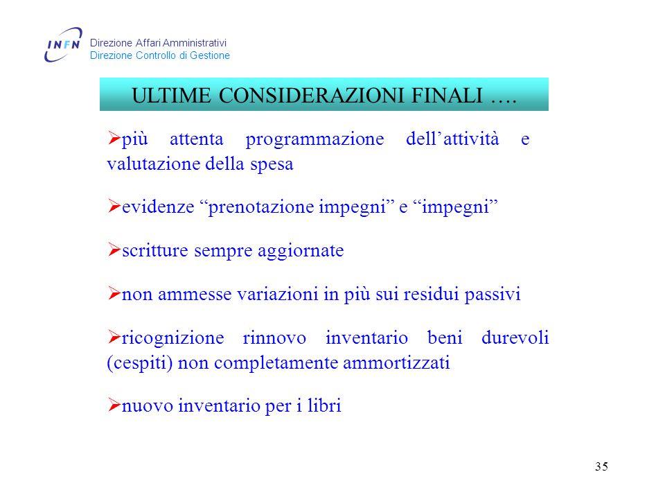 Direzione Affari Amministrativi Direzione Controllo di Gestione 35 ULTIME CONSIDERAZIONI FINALI ….