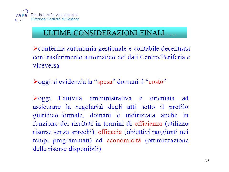 Direzione Affari Amministrativi Direzione Controllo di Gestione 36 ULTIME CONSIDERAZIONI FINALI ….