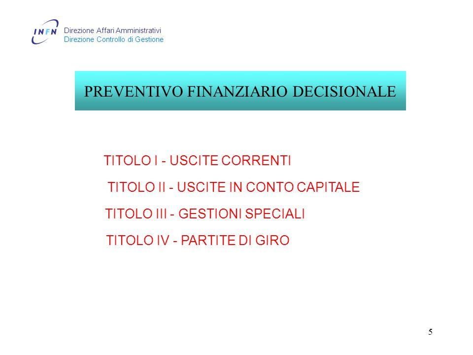 Direzione Affari Amministrativi Direzione Controllo di Gestione 5 TITOLO I - USCITE CORRENTI TITOLO II - USCITE IN CONTO CAPITALE TITOLO III - GESTIONI SPECIALI TITOLO IV - PARTITE DI GIRO PREVENTIVO FINANZIARIO DECISIONALE
