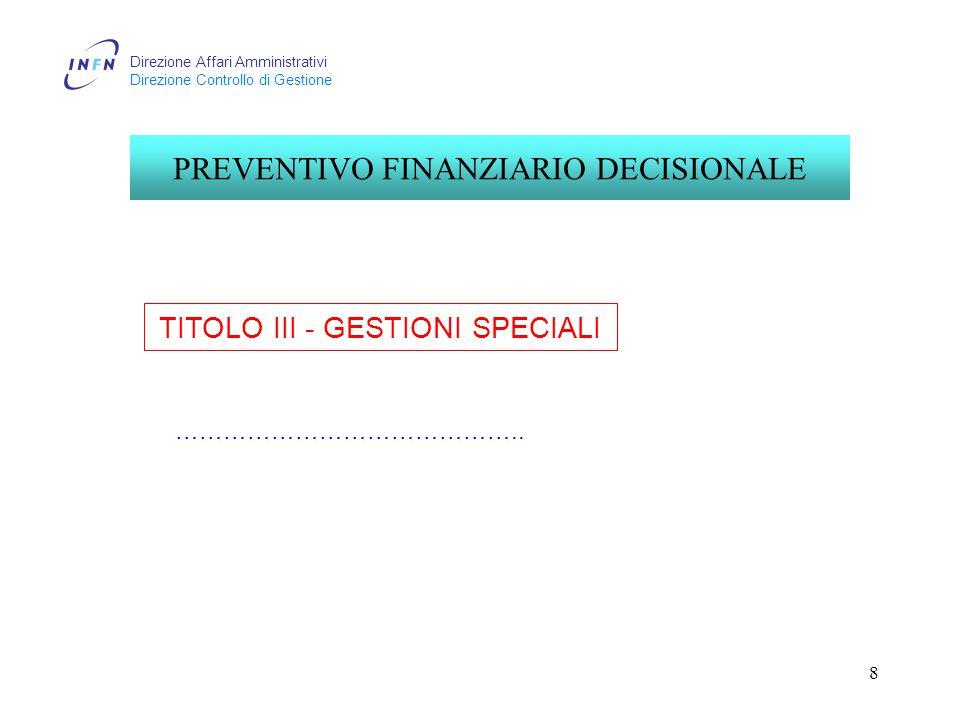 Direzione Affari Amministrativi Direzione Controllo di Gestione 8 TITOLO III - GESTIONI SPECIALI PREVENTIVO FINANZIARIO DECISIONALE ……………………………………..