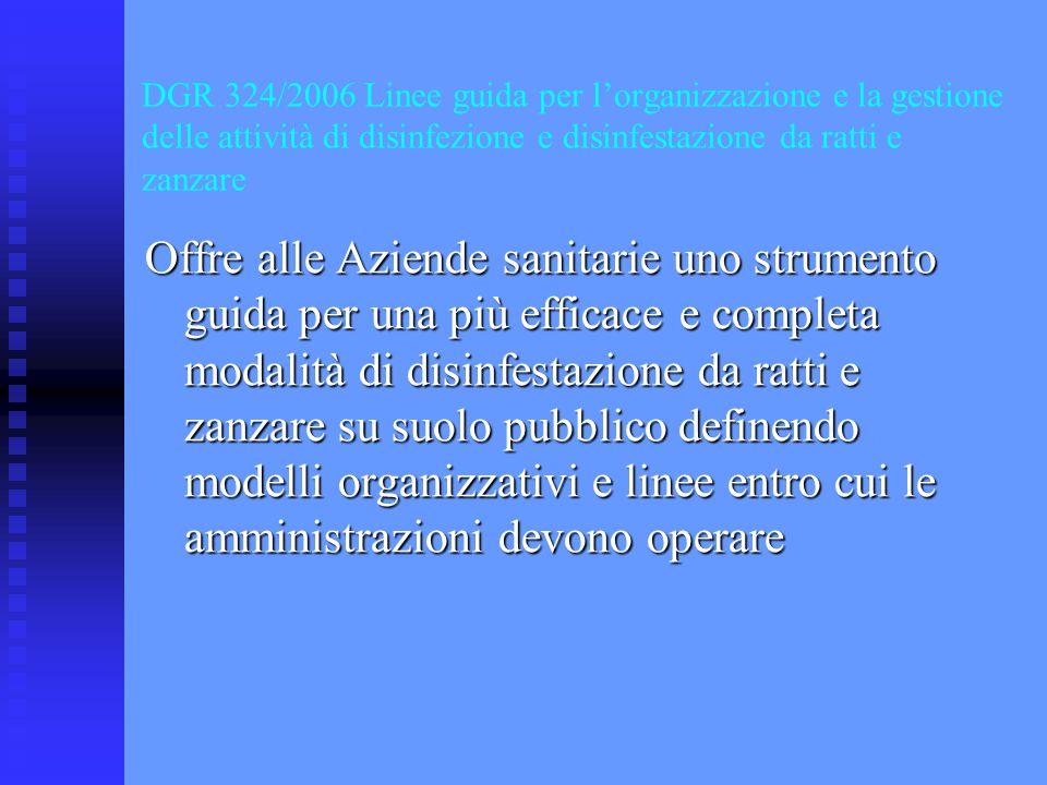 DGR 324/2006 Linee guida per l'organizzazione e la gestione delle attività di disinfezione e disinfestazione da ratti e zanzare Offre alle Aziende san