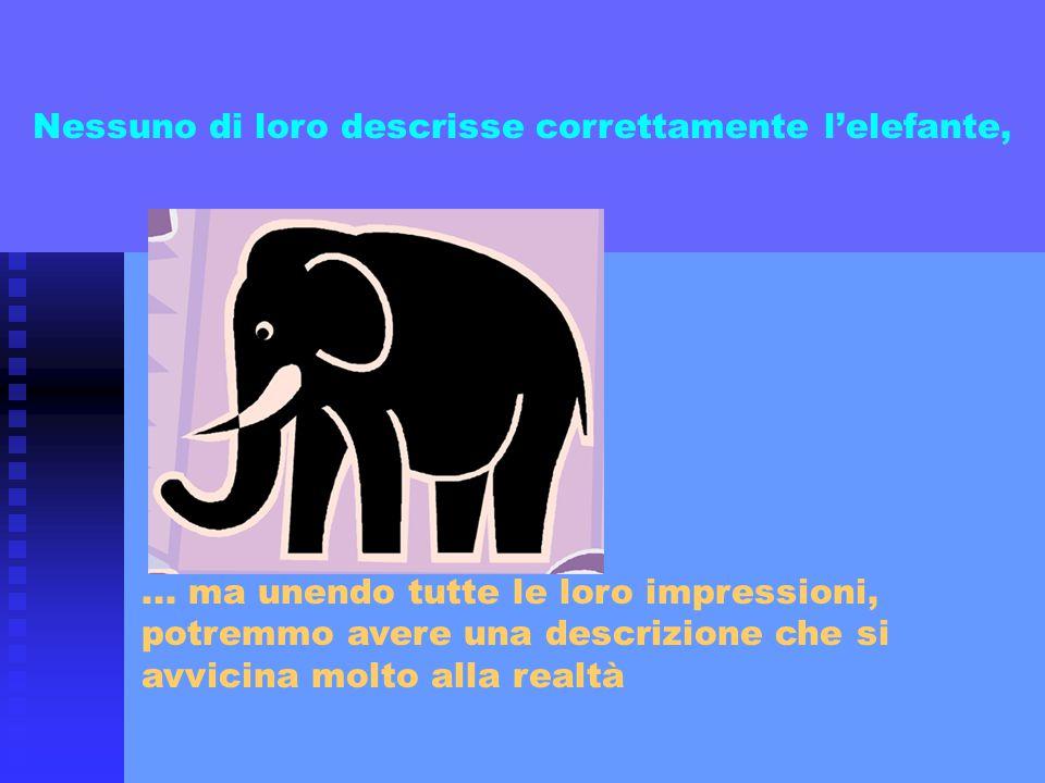 Nessuno di loro descrisse correttamente l'elefante,... ma unendo tutte le loro impressioni, potremmo avere una descrizione che si avvicina molto alla