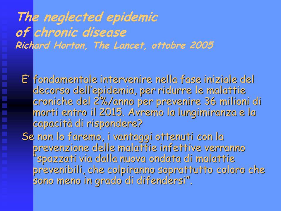 The neglected epidemic of chronic disease Richard Horton, The Lancet, ottobre 2005 E' fondamentale intervenire nella fase iniziale del decorso dell'ep