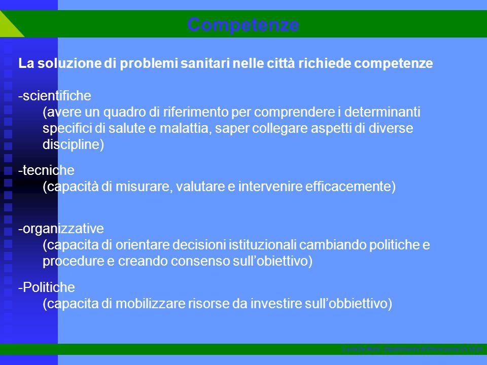 La soluzione di problemi sanitari nelle città richiede competenze -scientifiche (avere un quadro di riferimento per comprendere i determinanti specifi