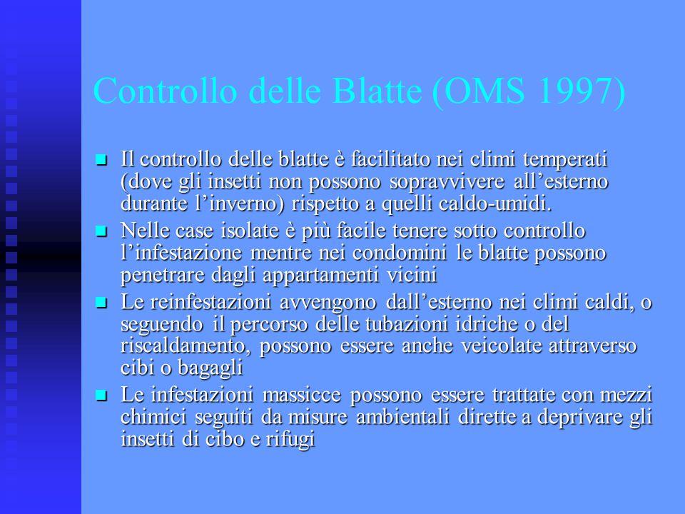 Controllo delle Blatte (OMS 1997) Il controllo delle blatte è facilitato nei climi temperati (dove gli insetti non possono sopravvivere all'esterno du