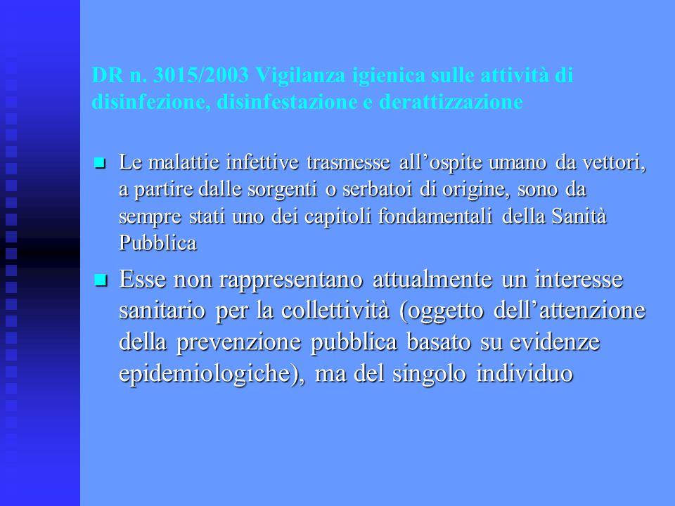 DR n. 3015/2003 Vigilanza igienica sulle attività di disinfezione, disinfestazione e derattizzazione Le malattie infettive trasmesse all'ospite umano
