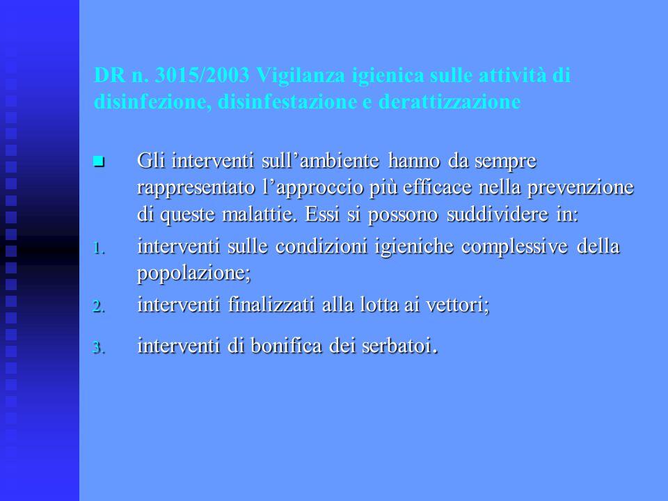 DR n. 3015/2003 Vigilanza igienica sulle attività di disinfezione, disinfestazione e derattizzazione Gli interventi sull'ambiente hanno da sempre rapp