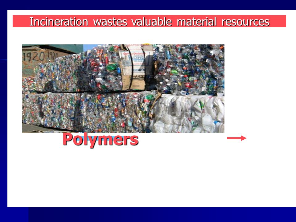 reuse Incineration wastes valuable material resources Polymers