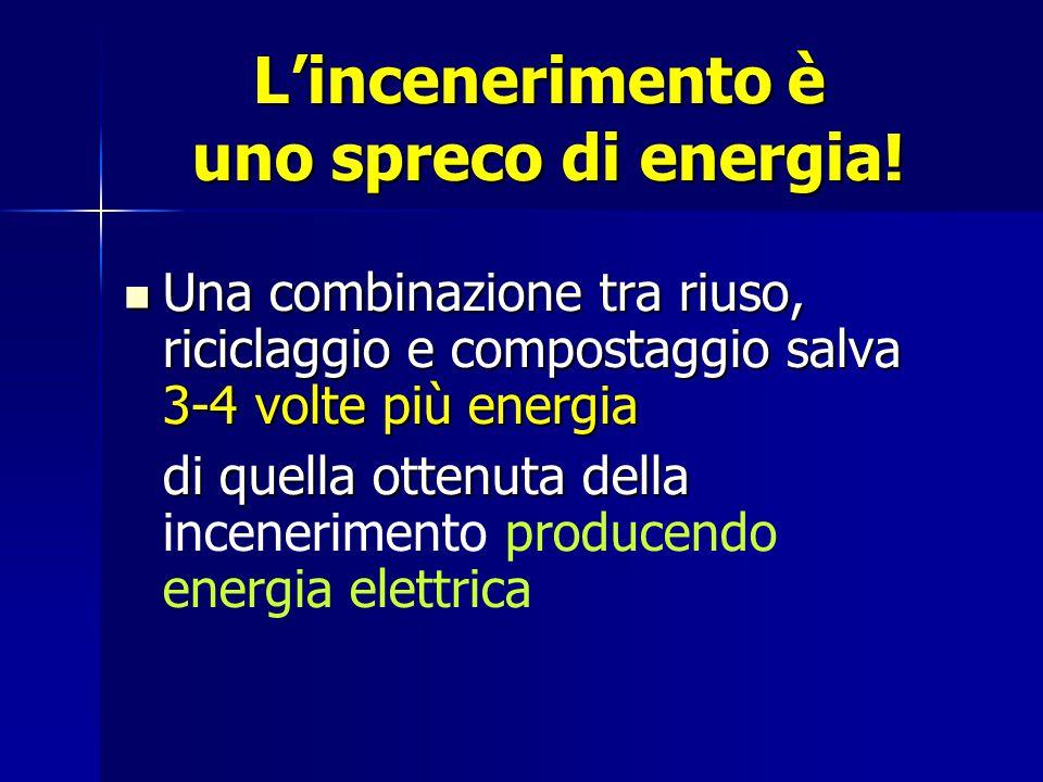 L'incenerimento è uno spreco di energia! Una combinazione tra riuso, riciclaggio e compostaggio salva 3-4 volte più energia Una combinazione tra riuso