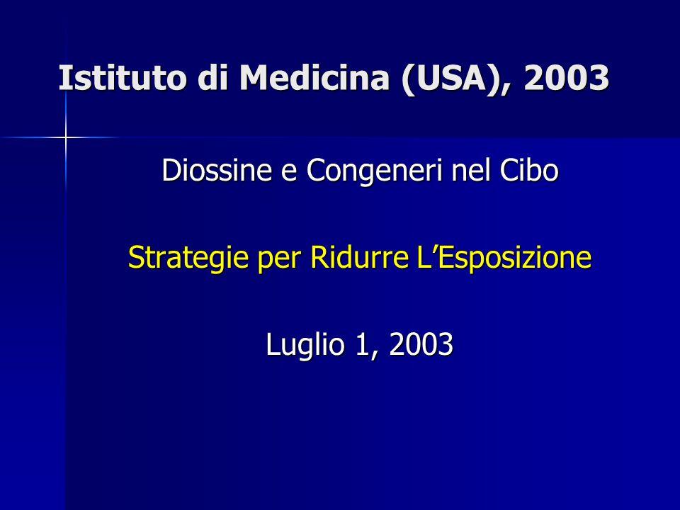 Istituto di Medicina (USA), 2003 Diossine e Congeneri nel Cibo Strategie per Ridurre L'Esposizione Luglio 1, 2003