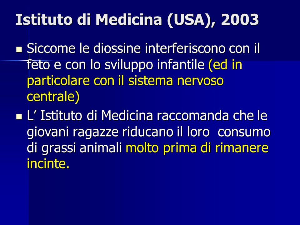 Istituto di Medicina (USA), 2003 Siccome le diossine interferiscono con il feto e con lo sviluppo infantile (ed in particolare con il sistema nervoso