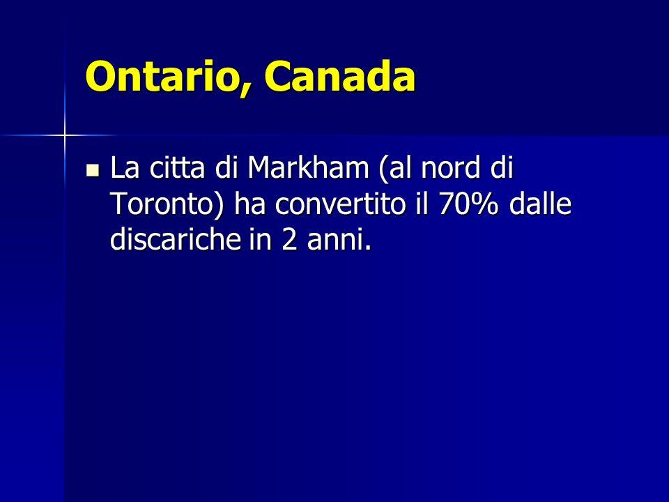 Ontario, Canada La citta di Markham (al nord di Toronto) ha convertito il 70% dalle discariche in 2 anni. La citta di Markham (al nord di Toronto) ha