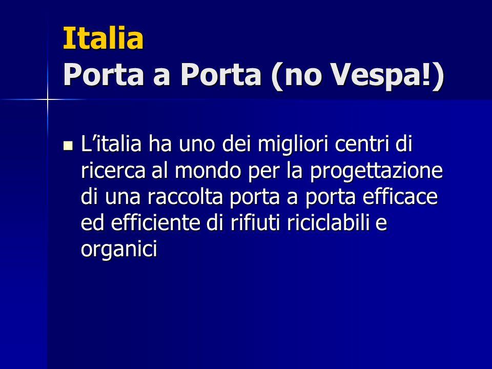 Italia Porta a Porta (no Vespa!) L'italia ha uno dei migliori centri di ricerca al mondo per la progettazione di una raccolta porta a porta efficace e
