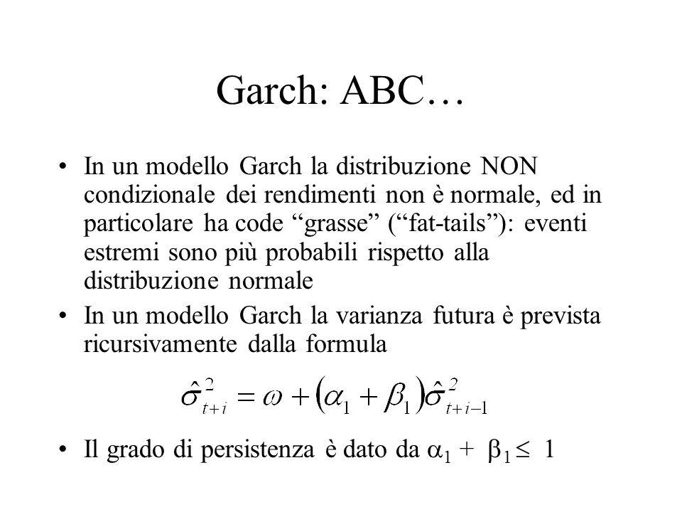 """Garch: ABC… In un modello Garch la distribuzione NON condizionale dei rendimenti non è normale, ed in particolare ha code """"grasse"""" (""""fat-tails""""): even"""