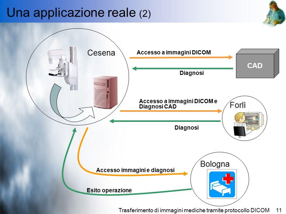 Trasferimento di immagini mediche tramite protocollo DICOM11 Una applicazione reale (2) Cesena Bologna Accesso a immagini DICOM e Diagnosi CAD CAD Accesso a immagini DICOM Diagnosi Accesso immagini e diagnosi Esito operazione Forlì