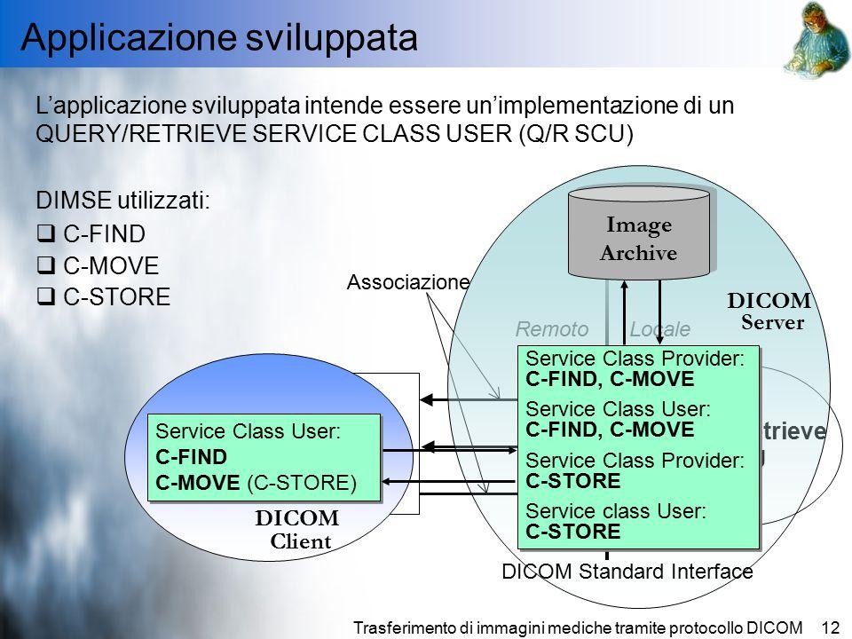 Trasferimento di immagini mediche tramite protocollo DICOM12 Applicazione sviluppata L'applicazione sviluppata intende essere un'implementazione di un QUERY/RETRIEVE SERVICE CLASS USER (Q/R SCU) DIMSE utilizzati:  C-FIND  C-MOVE  C-STORE Query/Retrieve SCU Query/Retrieve SCP LocaleRemoto DICOM Standard Interface FIND MOVE STORE Associazione Image Archive DICOM Client Service Class User: C-FIND C-MOVE (C-STORE) Service Class User: C-FIND C-MOVE (C-STORE) Service Class Provider: C-FIND, C-MOVE Service Class User: C-FIND, C-MOVE Service Class Provider: C-STORE Service class User: C-STORE Service Class Provider: C-FIND, C-MOVE Service Class User: C-FIND, C-MOVE Service Class Provider: C-STORE Service class User: C-STORE DICOM Server