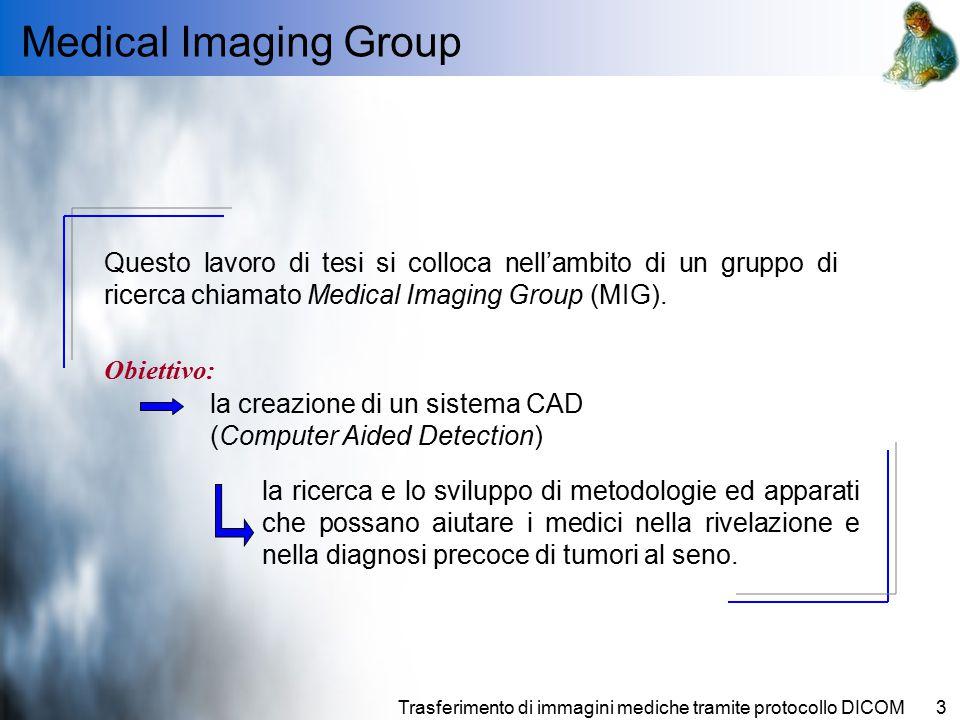 Trasferimento di immagini mediche tramite protocollo DICOM3 Medical Imaging Group Questo lavoro di tesi si colloca nell'ambito di un gruppo di ricerca chiamato Medical Imaging Group (MIG).