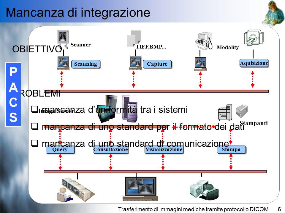 Trasferimento di immagini mediche tramite protocollo DICOM6 Integrazione dei dati clinici dei diversi Sistemi Informativi.