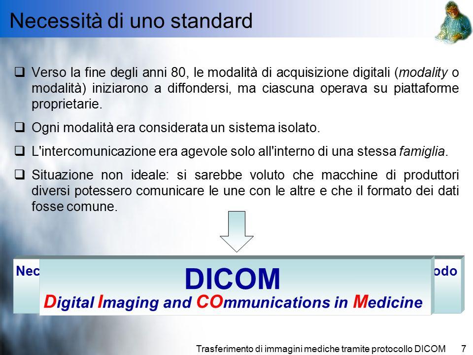 Trasferimento di immagini mediche tramite protocollo DICOM7  Verso la fine degli anni 80, le modalità di acquisizione digitali (modality o modalità) iniziarono a diffondersi, ma ciascuna operava su piattaforme proprietarie.