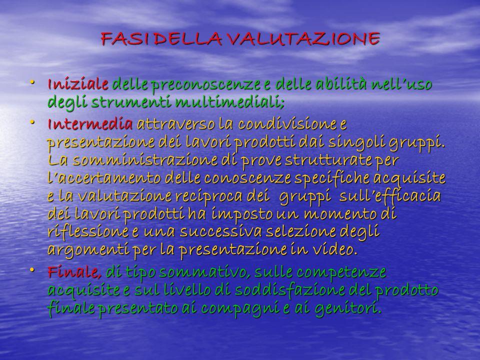 FASI DELLA VALUTAZIONE Iniziale delle preconoscenze e delle abilità nell'uso degli strumenti multimediali; Iniziale delle preconoscenze e delle abilit