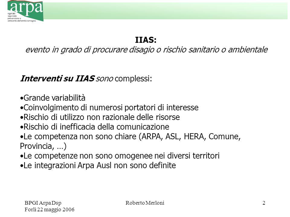 BPGI Arpa Dsp Forlì 22 maggio 2006 Roberto Merloni2 IIAS: evento in grado di procurare disagio o rischio sanitario o ambientale Interventi su IIAS son