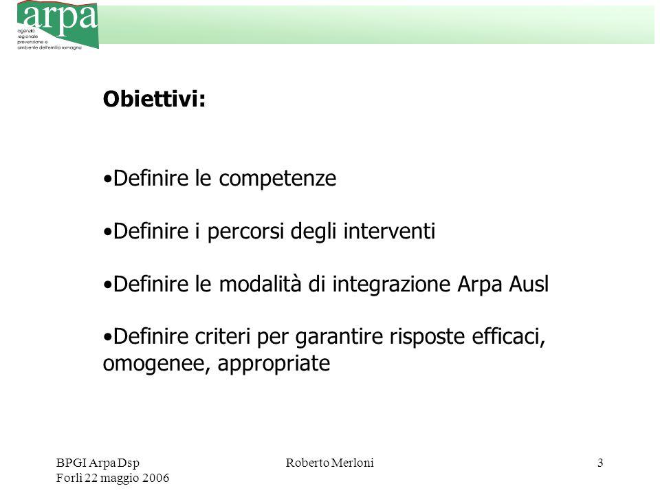BPGI Arpa Dsp Forlì 22 maggio 2006 Roberto Merloni3 Obiettivi: Definire le competenze Definire i percorsi degli interventi Definire le modalità di integrazione Arpa Ausl Definire criteri per garantire risposte efficaci, omogenee, appropriate