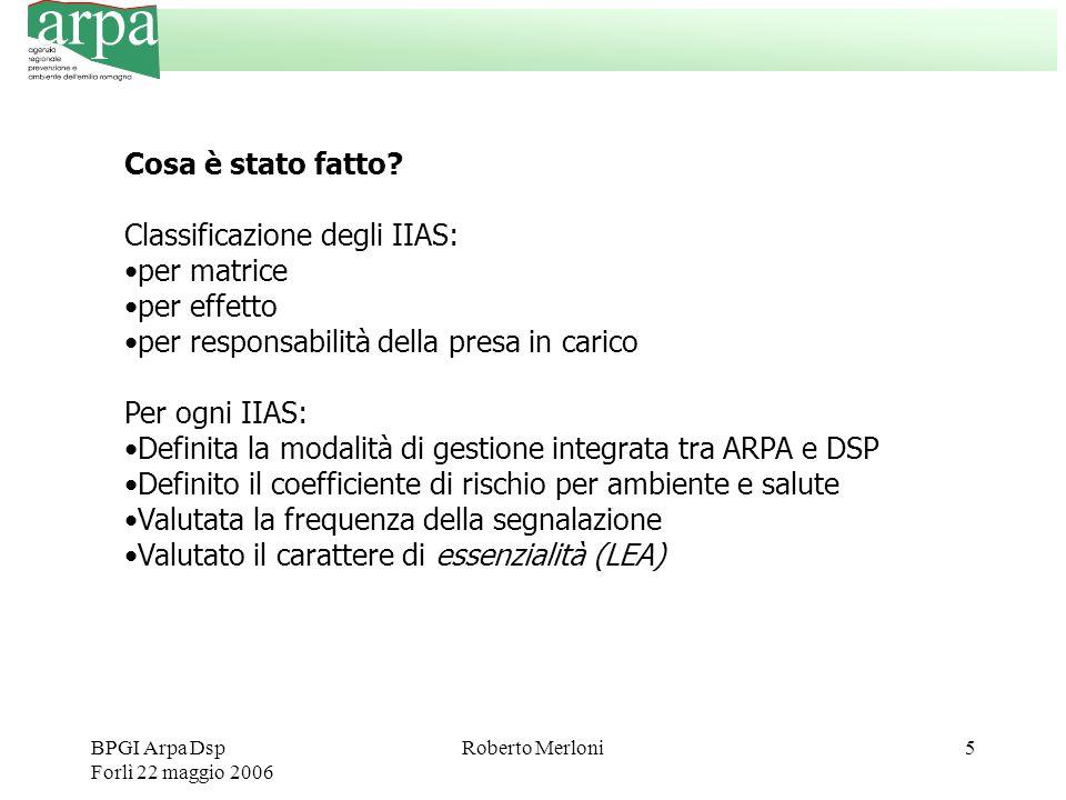 BPGI Arpa Dsp Forlì 22 maggio 2006 Roberto Merloni5 Cosa è stato fatto? Classificazione degli IIAS: per matrice per effetto per responsabilità della p