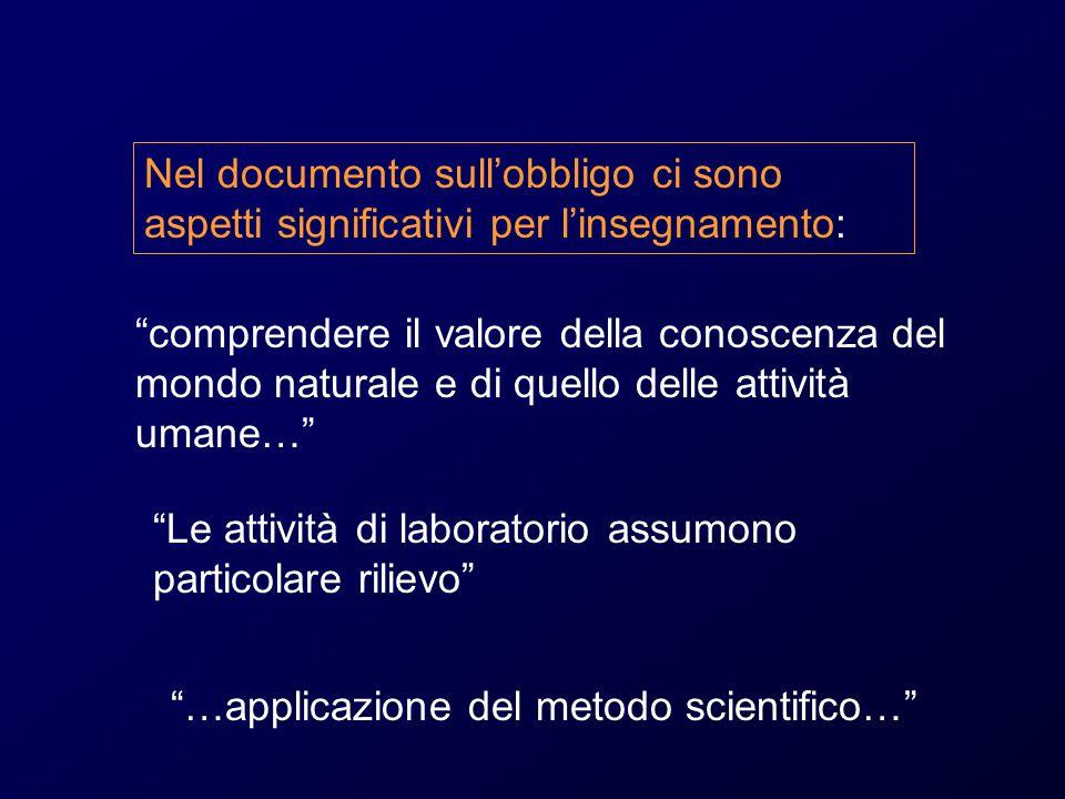 Nel documento sull'obbligo ci sono aspetti significativi per l'insegnamento: comprendere il valore della conoscenza del mondo naturale e di quello delle attività umane… Le attività di laboratorio assumono particolare rilievo …applicazione del metodo scientifico…