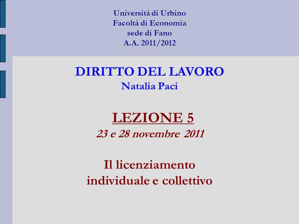 Università di Urbino Facoltà di Economia sede di Fano A.A. 2011/2012 DIRITTO DEL LAVORO Natalia Paci LEZIONE 5 23 e 28 novembre 2011 Il licenziamento