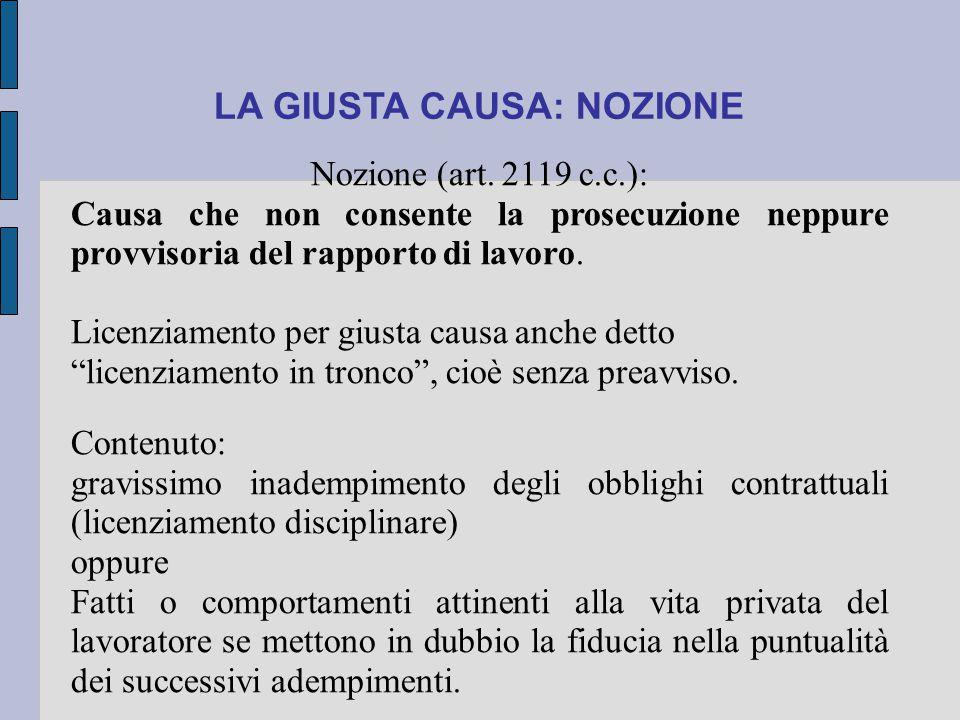 LA GIUSTA CAUSA: NOZIONE Nozione (art. 2119 c.c.): Causa che non consente la prosecuzione neppure provvisoria del rapporto di lavoro. Licenziamento pe