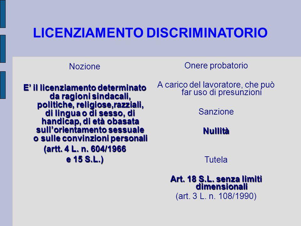 LICENZIAMENTO DISCRIMINATORIO Nozione E' il licenziamento determinato da ragioni sindacali, politiche, religiose,razziali, di lingua o di sesso, di handicap, di età obasata sull'orientamento sessuale o sulle convinzioni personali (artt.