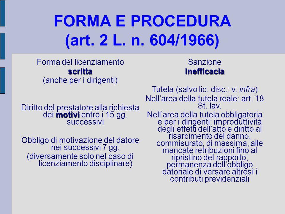 FORMA E PROCEDURA (art. 2 L. n. 604/1966) Forma del licenziamentoscritta (anche per i dirigenti) motivi Diritto del prestatore alla richiesta dei moti
