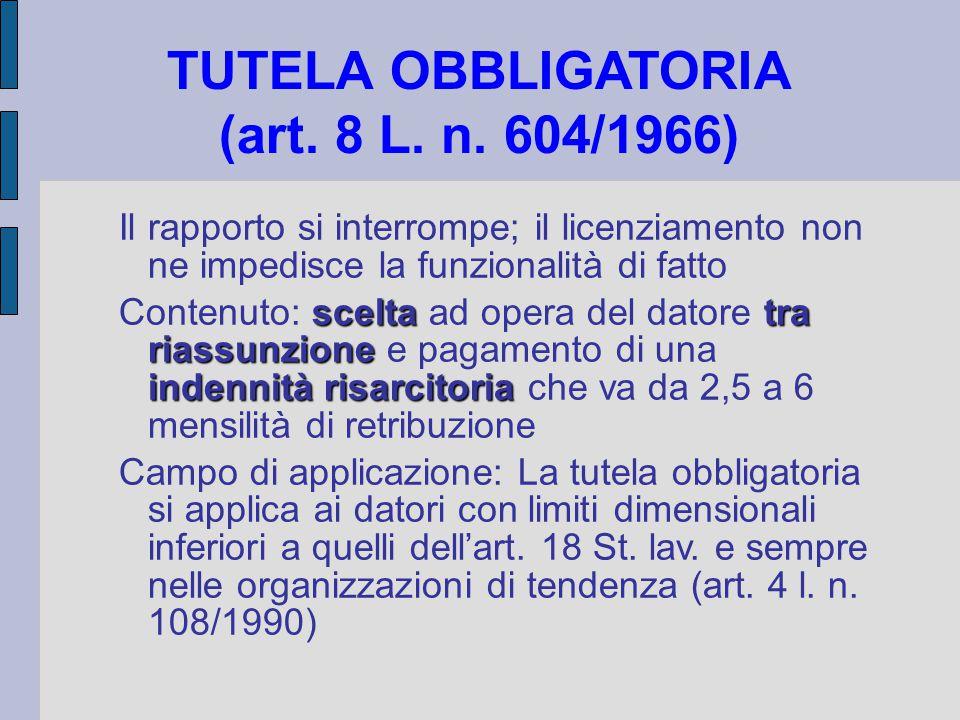 TUTELA OBBLIGATORIA (art. 8 L. n. 604/1966) Il rapporto si interrompe; il licenziamento non ne impedisce la funzionalità di fatto sceltatra riassunzio