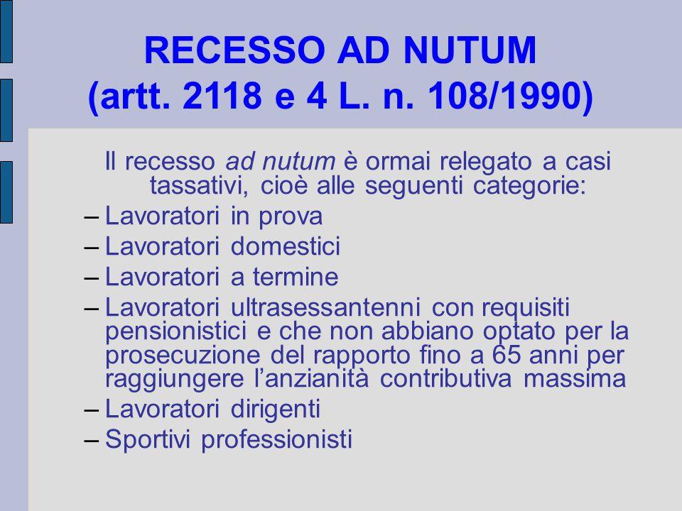 RECESSO AD NUTUM (artt. 2118 e 4 L. n. 108/1990) Il recesso ad nutum è ormai relegato a casi tassativi, cioè alle seguenti categorie: –Lavoratori in p