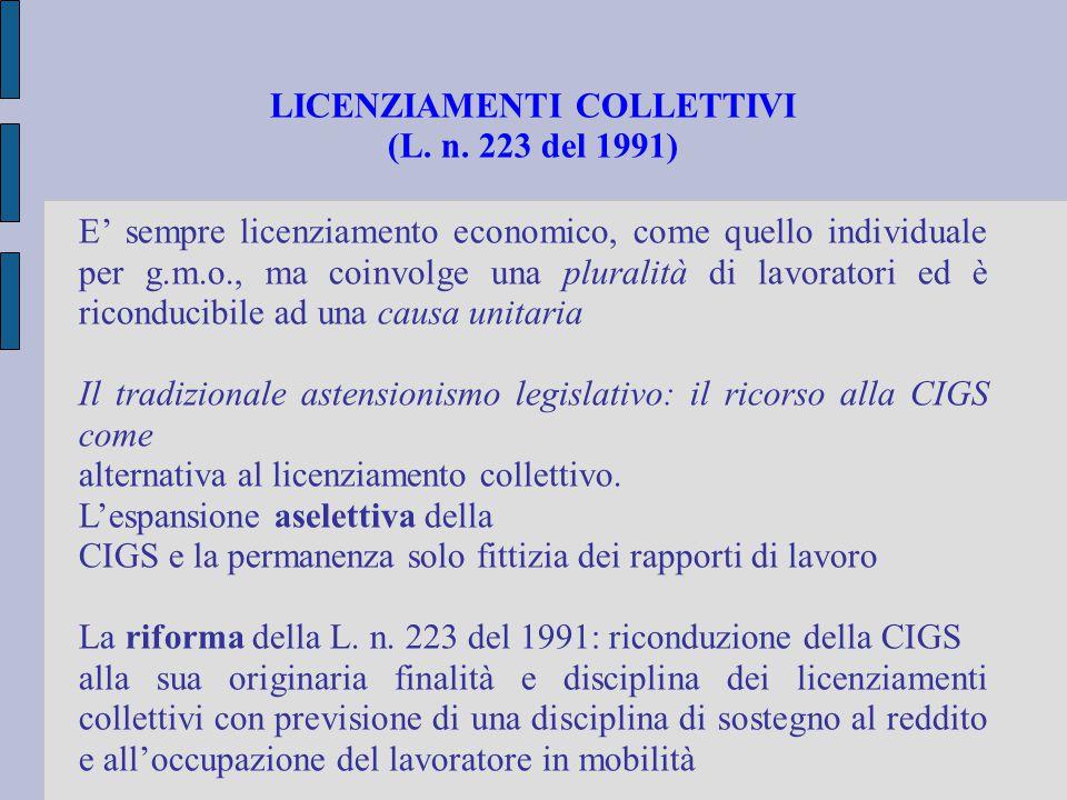 LICENZIAMENTI COLLETTIVI (L. n. 223 del 1991) E' sempre licenziamento economico, come quello individuale per g.m.o., ma coinvolge una pluralità di lav