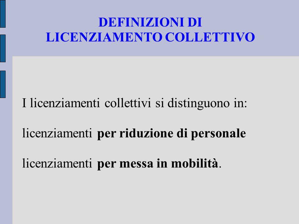 DEFINIZIONI DI LICENZIAMENTO COLLETTIVO I licenziamenti collettivi si distinguono in: licenziamenti per riduzione di personale licenziamenti per messa
