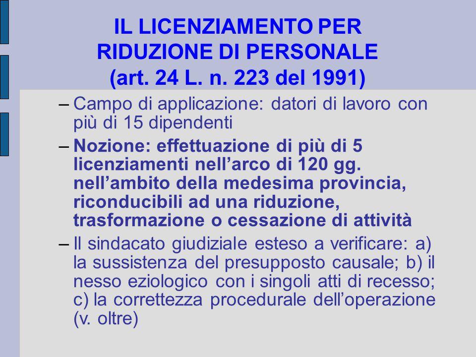 IL LICENZIAMENTO PER RIDUZIONE DI PERSONALE (art. 24 L. n. 223 del 1991) –Campo di applicazione: datori di lavoro con più di 15 dipendenti –Nozione: e