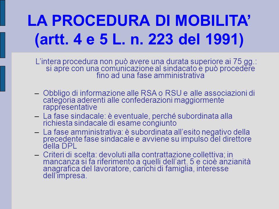 LA PROCEDURA DI MOBILITA' (artt. 4 e 5 L. n. 223 del 1991) L'intera procedura non può avere una durata superiore ai 75 gg.: si apre con una comunicazi