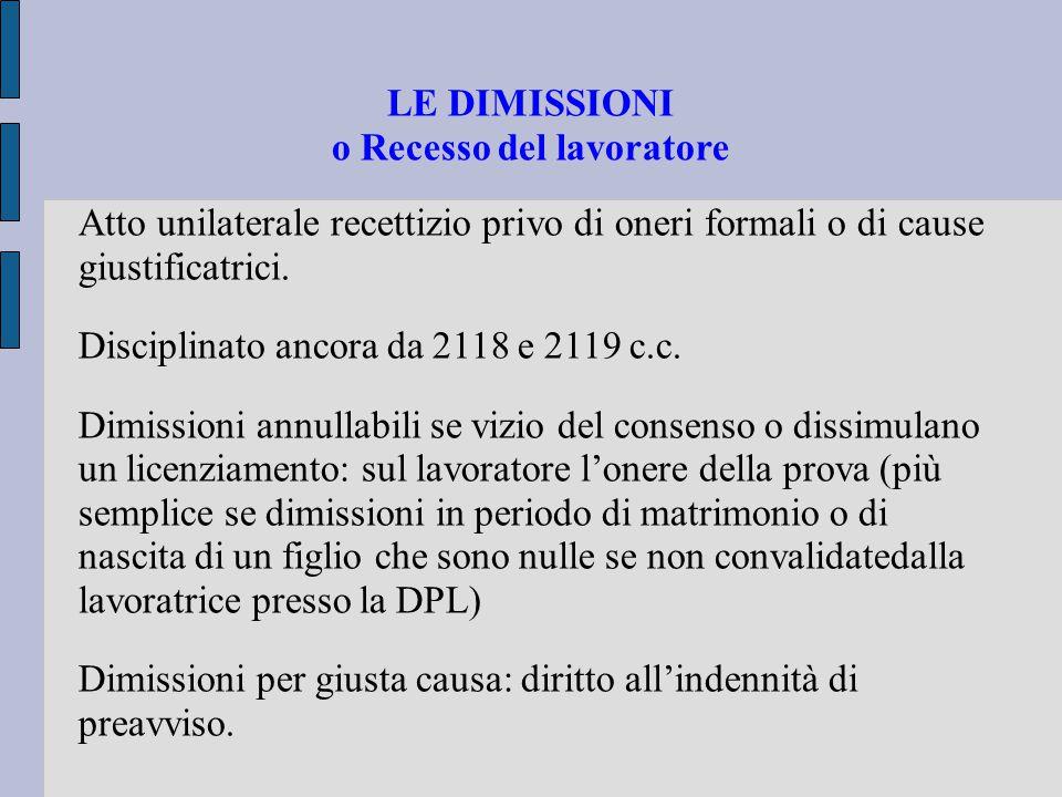 LE DIMISSIONI o Recesso del lavoratore Atto unilaterale recettizio privo di oneri formali o di cause giustificatrici. Disciplinato ancora da 2118 e 21