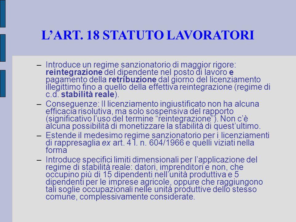 L'ART. 18 STATUTO LAVORATORI –Introduce un regime sanzionatorio di maggior rigore: reintegrazione del dipendente nel posto di lavoro e pagamento della