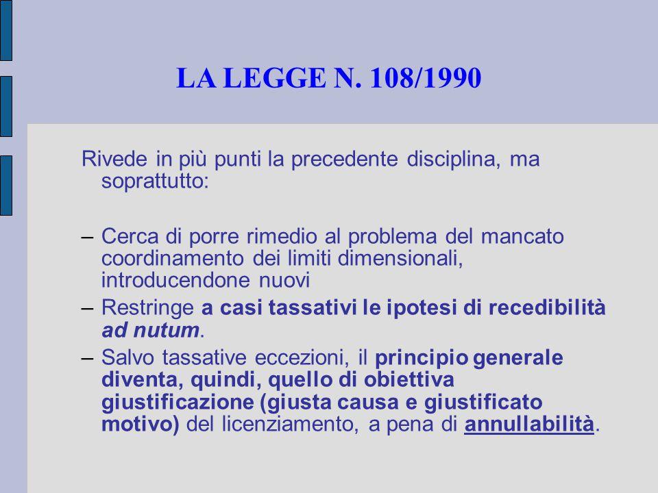 LA LEGGE N. 108/1990 Rivede in più punti la precedente disciplina, ma soprattutto: –Cerca di porre rimedio al problema del mancato coordinamento dei l