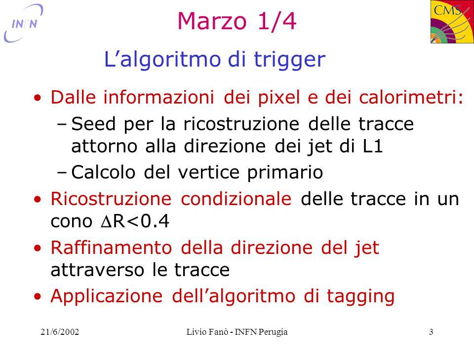 21/6/2002Livio Fanò - INFN Perugia4 Marzo 2/4 - definizioni La scelta della regione bb uu Il conditional tracking [Riccardo]