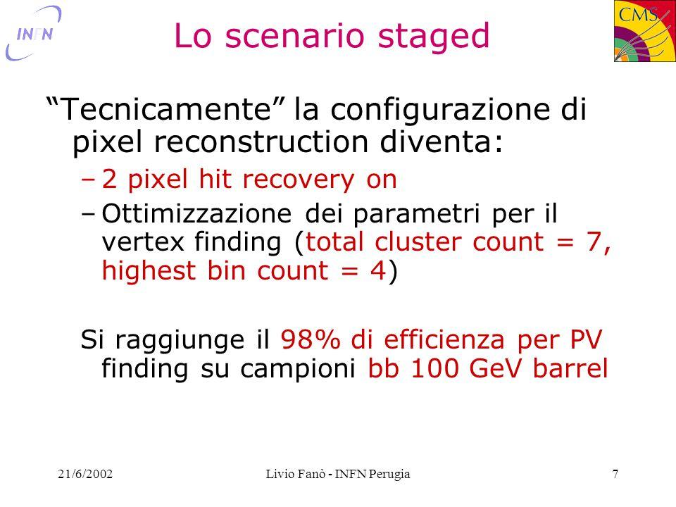 21/6/2002Livio Fanò - INFN Perugia28 Performances Offline No pileup vs Low vs High Lumi Barrel58%55%42% Forward38%35%28% @ 10 -2 mistag [Gabriele]