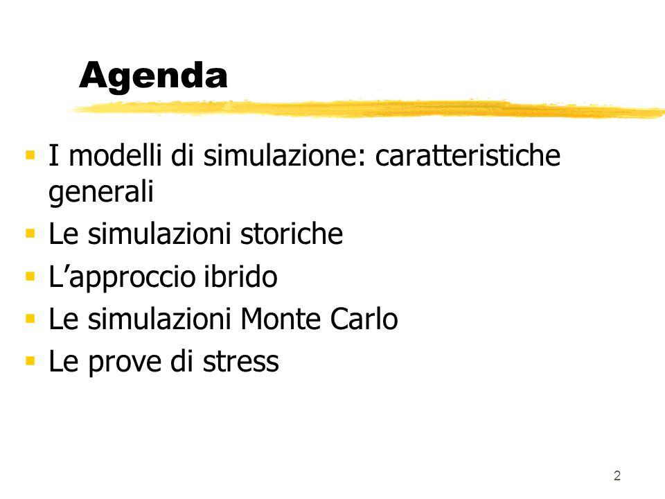 3 I modelli di simulazione  Modelli non parametrici  nessuna ipotesi circa la forma funzionale della distribuzione dei rendimenti dei fattori di mercato  Due principali categorie:  Simulazioni storiche (+ approccio ibrido)  Simulazioni Monte Carlo