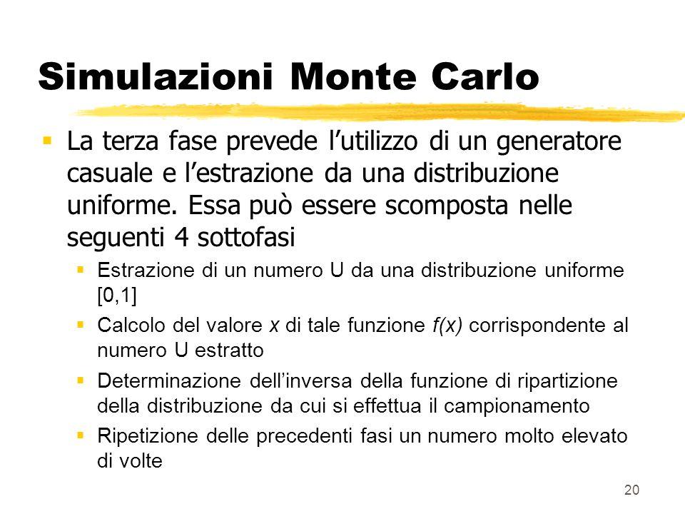 20 Simulazioni Monte Carlo  La terza fase prevede l'utilizzo di un generatore casuale e l'estrazione da una distribuzione uniforme. Essa può essere s