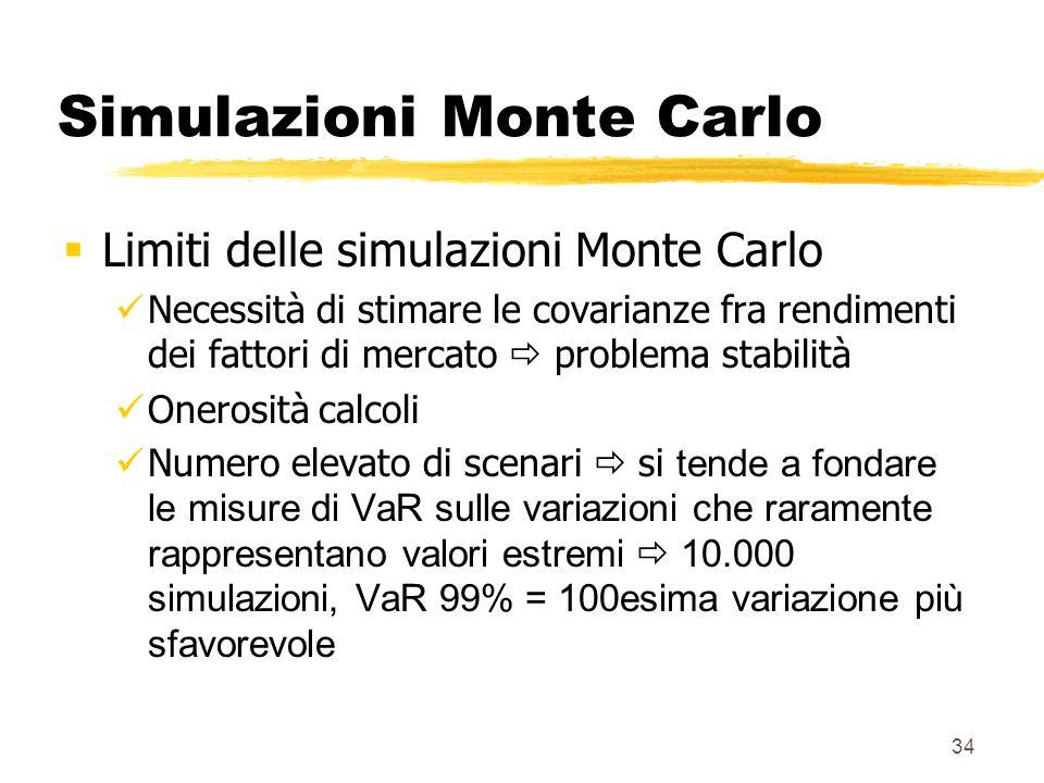 34 Simulazioni Monte Carlo  Limiti delle simulazioni Monte Carlo Necessità di stimare le covarianze fra rendimenti dei fattori di mercato  problema