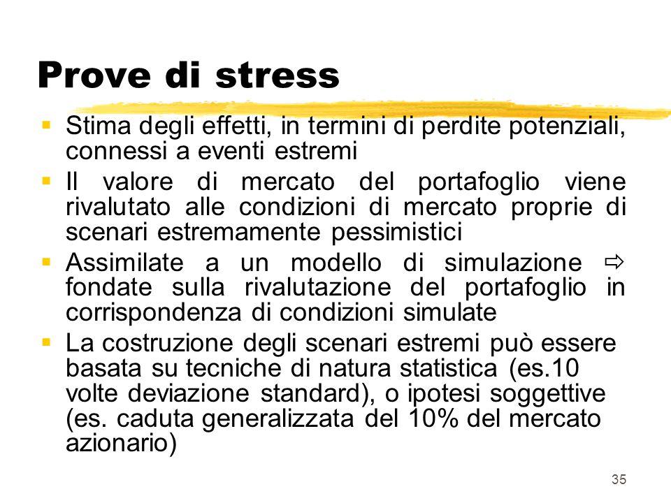 35 Prove di stress  Stima degli effetti, in termini di perdite potenziali, connessi a eventi estremi  Il valore di mercato del portafoglio viene riv